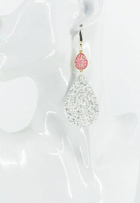 Druzy Agate and Pearly White Glitter on Leather Earrings - E19-2452