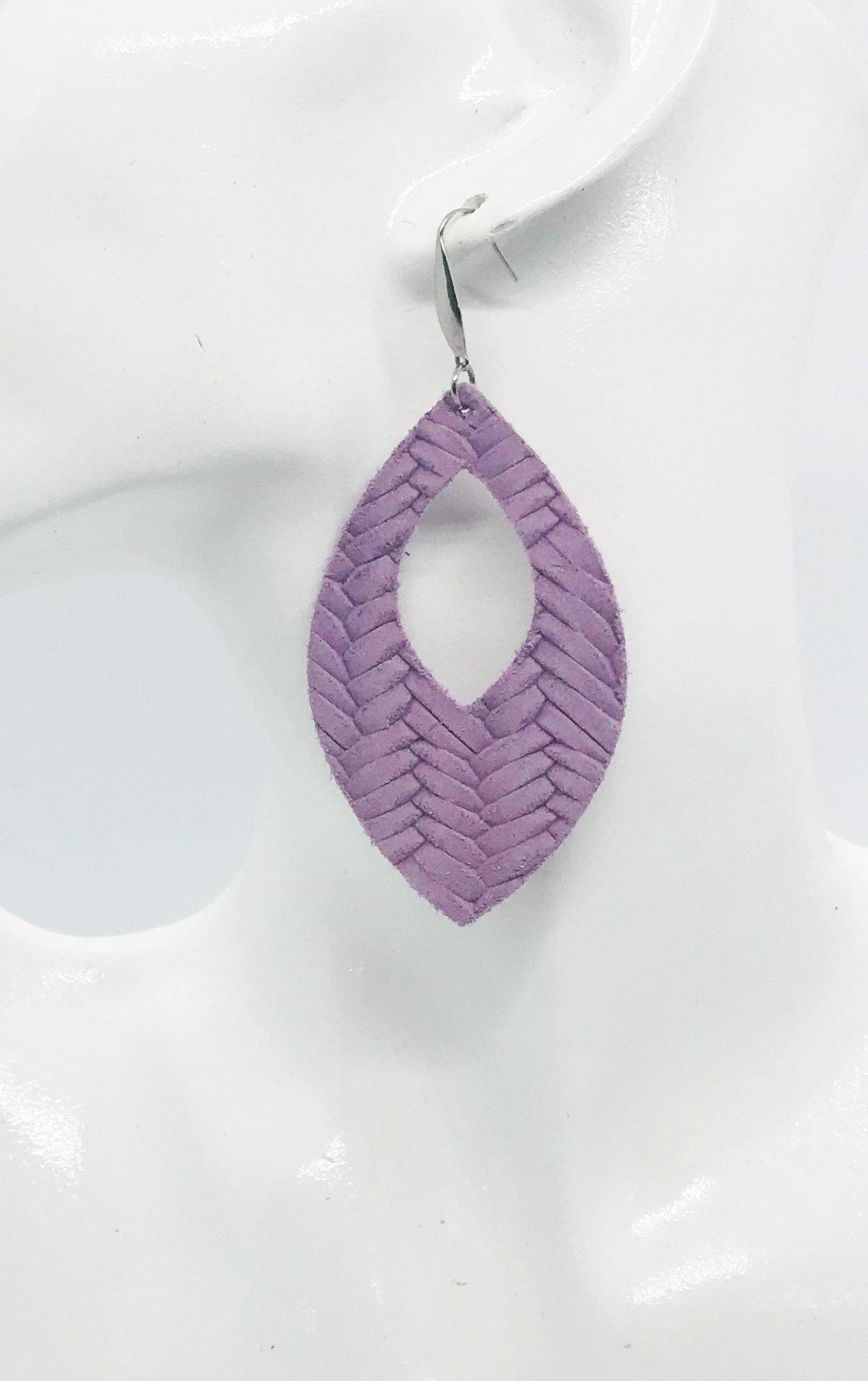 Purple Italian Leather Earrings - E19-370
