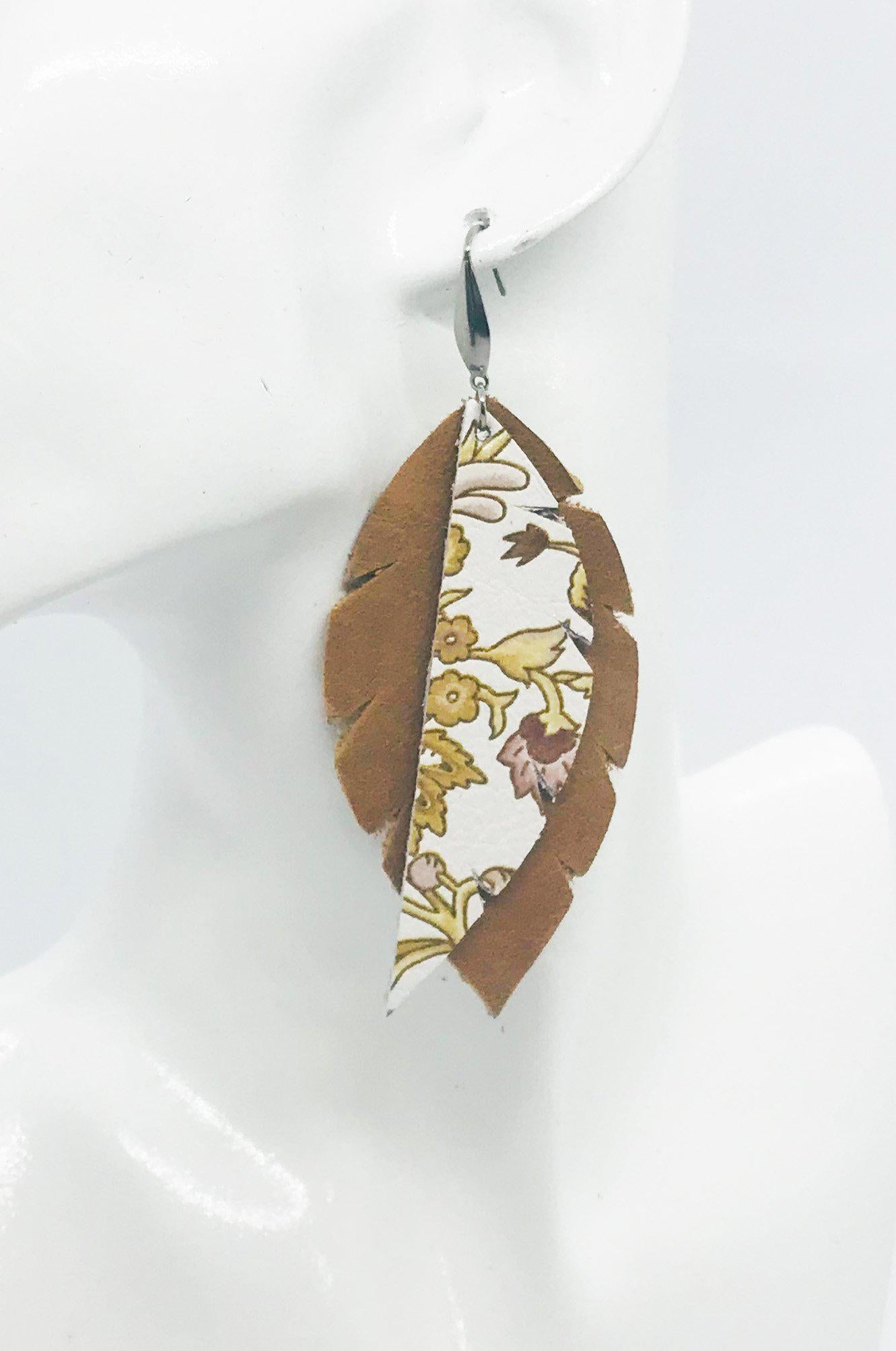 Genuine Light Brown Layered Leather Earrings - E19-382