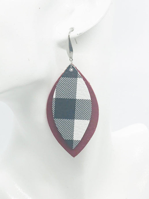 Genuine Red and Buffalo Plaid Leather Earrings - E19-397