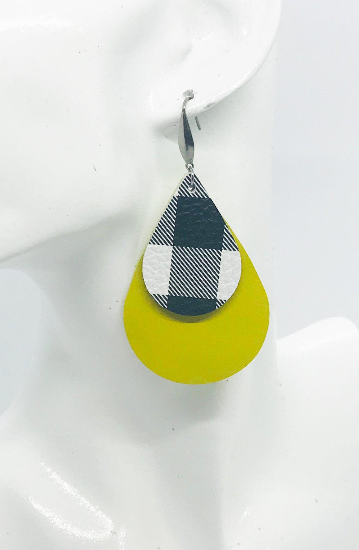 Genuine Yellow and Buffalo Plaid Leather Earrings - E19-398