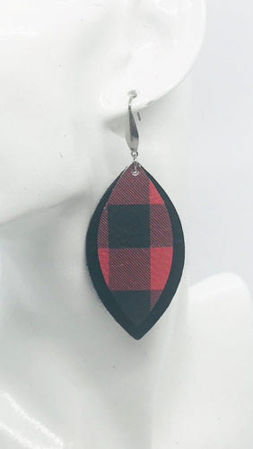 Black and Plaid Genuine Leather Earrings - E19-400