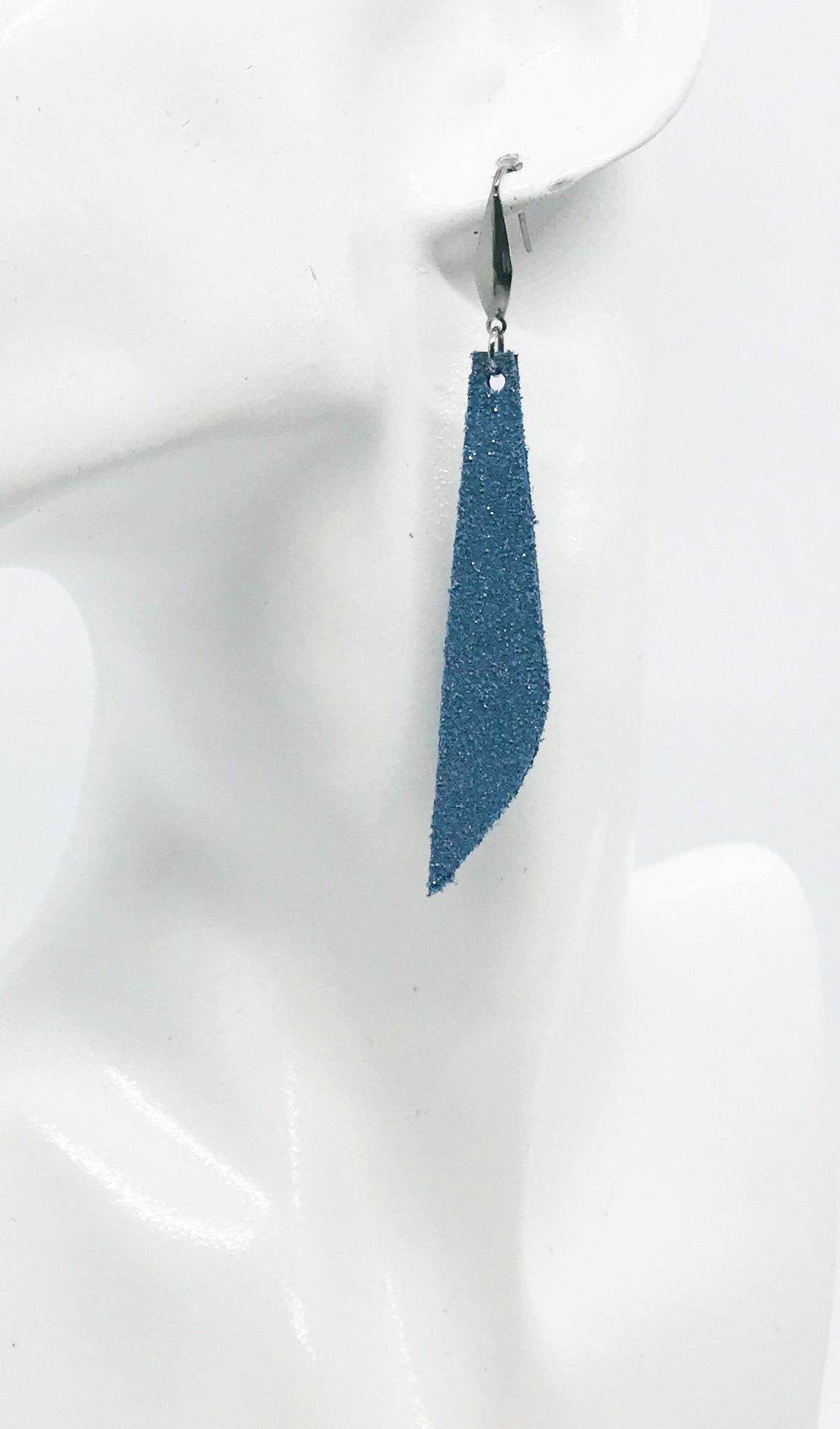 Blue Genuine Leather Drop Earrings - E19-411