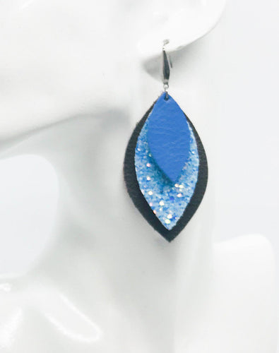 Brown and Blue Genuine Leather Earrings - E19-413
