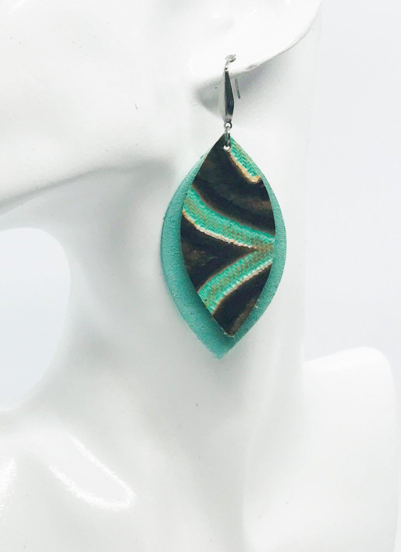 Mint and Teal Genuine Leather Earrings - E19-417