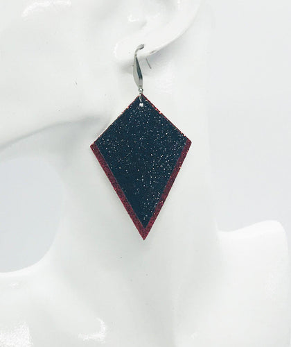Red and Black Fine Glitter Earrings - E19-419