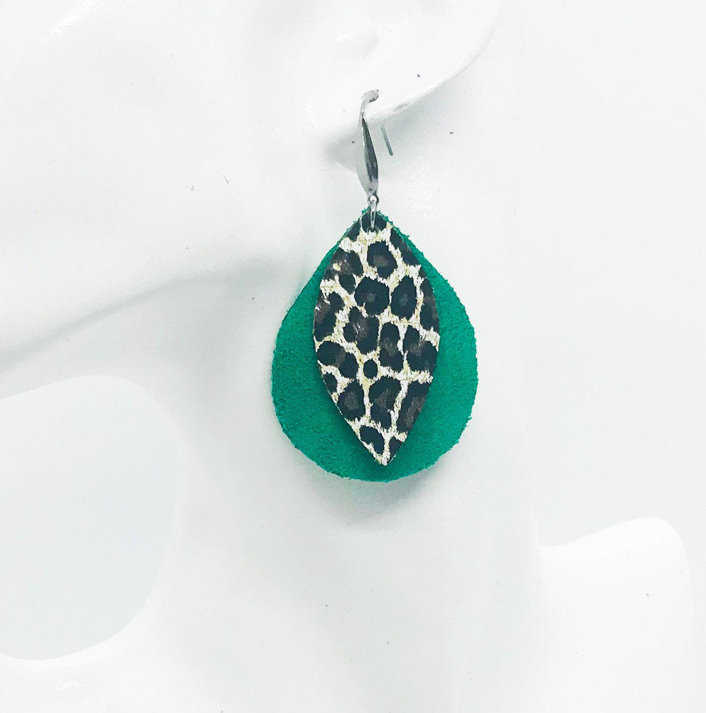 Green Suede and Cheetah Leather Earrings - E19-441