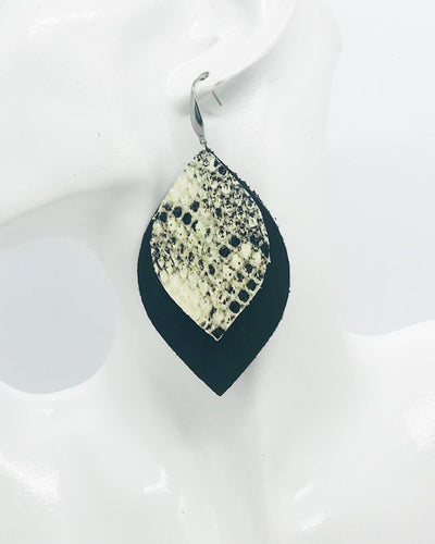 Genuine Black Leather and Snake Skin Leather Earrings - E19-445