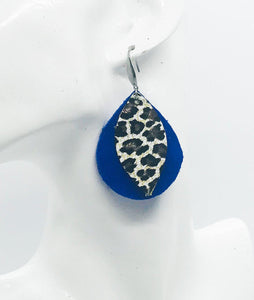 Blue Suede and Cheetah Leather Earrings - E19-454