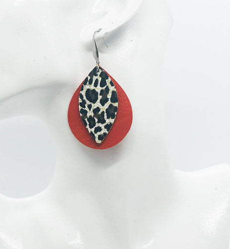 Orange Suede and Cheetah Leather Earrings - E19-455