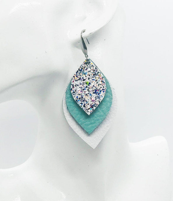 White and Turquoise Leather and Glitter Earrings - E19-457