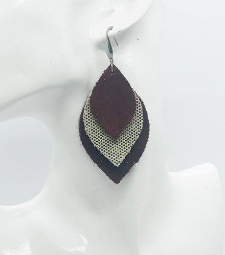 Burgundy Suede Leather and Metallic Gold Leather Earrings - E19-469