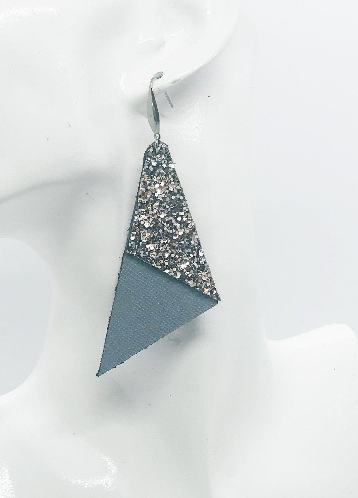 Neutral Gray and Bronze Glitter Earrings - E19-476