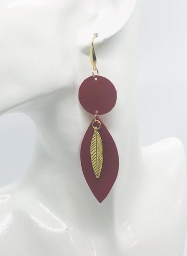 Red Genuine Leather Earrings - E19-482