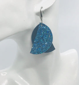 Teal Genuine Leather and Glitter Earrings - E19-489