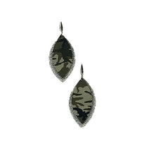 Load image into Gallery viewer, Camo Leather and Silver Glitter Layered Earrings - E19-497