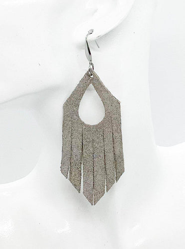 Taupe Dazzle Frayed Leather Earrings - E19-504
