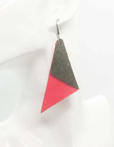 Coral and Green Python Genuine Leather Earrings - E19-522