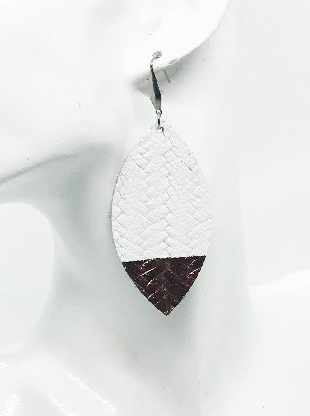 White Braided Italian Fishtail Painted Leather Earrings - E19-525