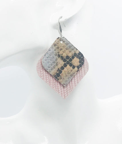 Genuine Pink Leather and Python Leather Earrings - E19-528