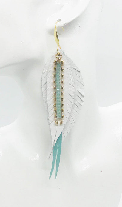 Genuine Leather Feather Earrings - E19-529