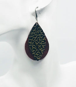 Genuine Layered Leather Earrings - E19-628