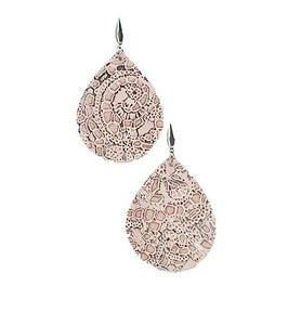 Pink Lace Genuine Leather Earrings - E19-641