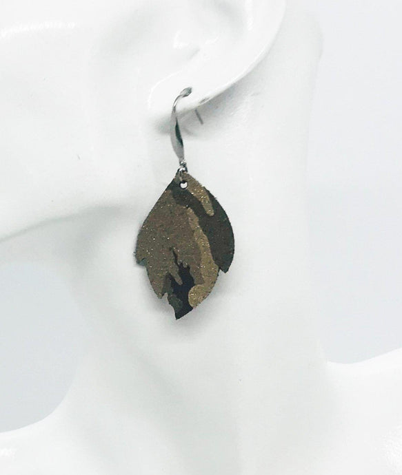 Metallic Brown Camo Leather Earrings - E19-682