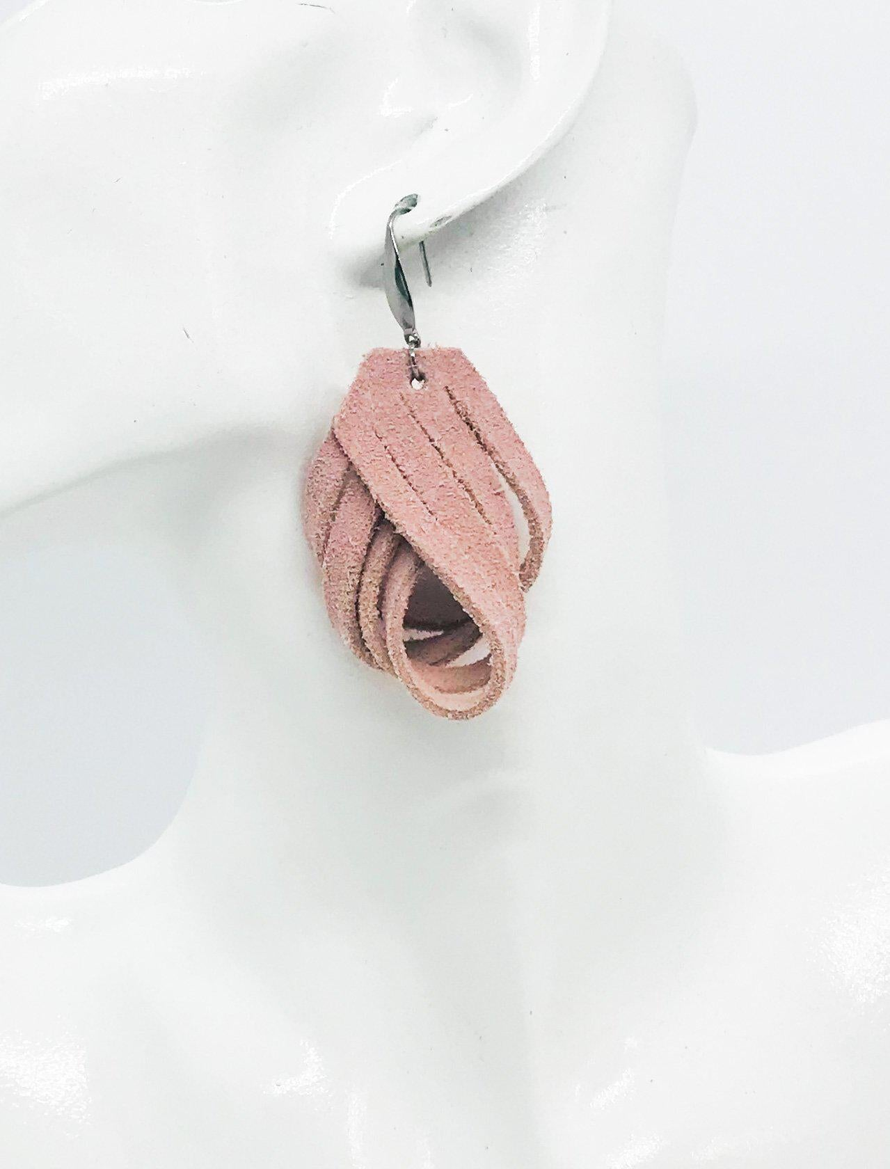 Pink Suede Leather Earrings - E19-685