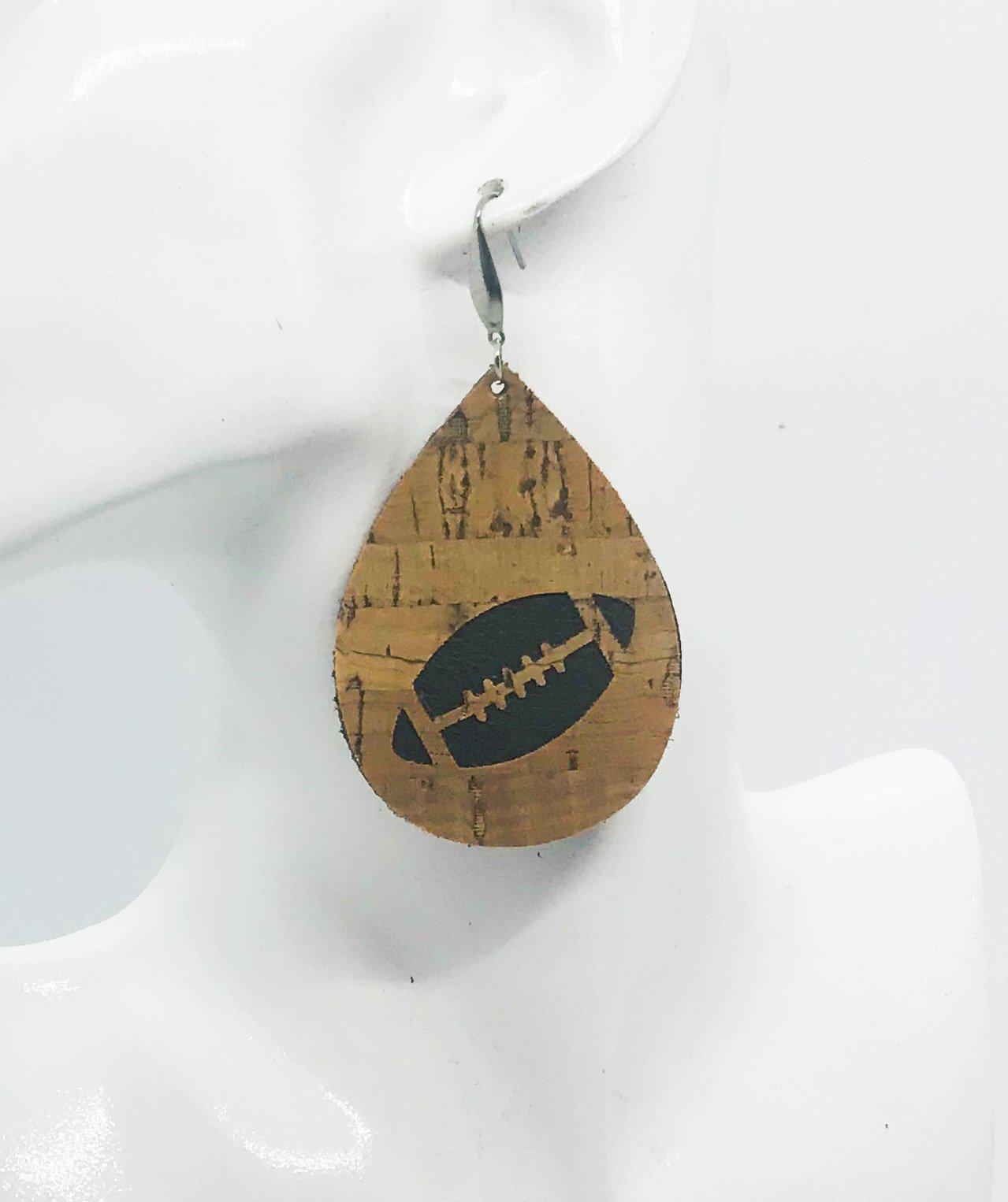 Genuine Leather and Cork Football Earrings - E19-696
