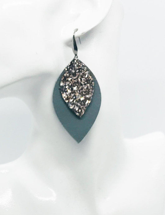 Gray Genuine Leather and Glitter Earrings - E19-709