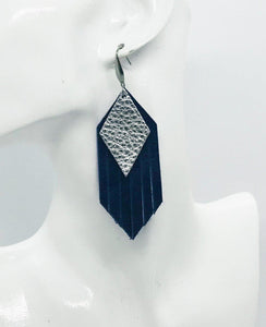 Blue and Silver Genuine Leather Frayed Earrings - E19-711
