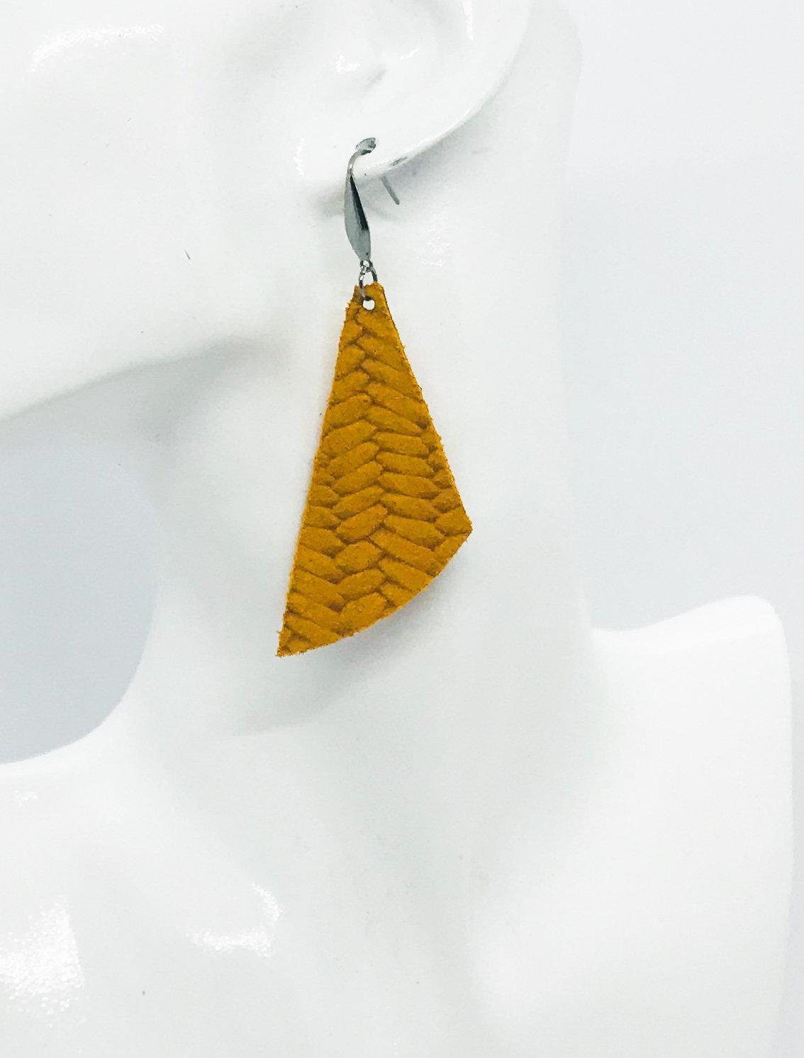 Mustard Braided Fishtail Leather Earrings - E19-716