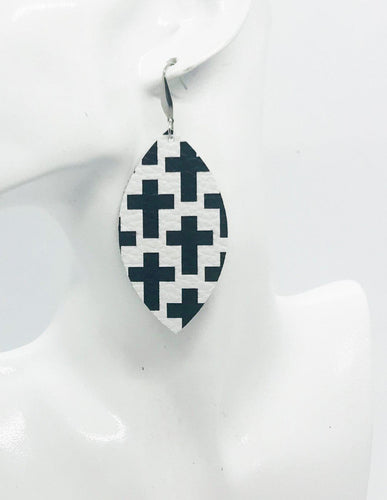 Genuine Leather Cross Earrings - E19-718