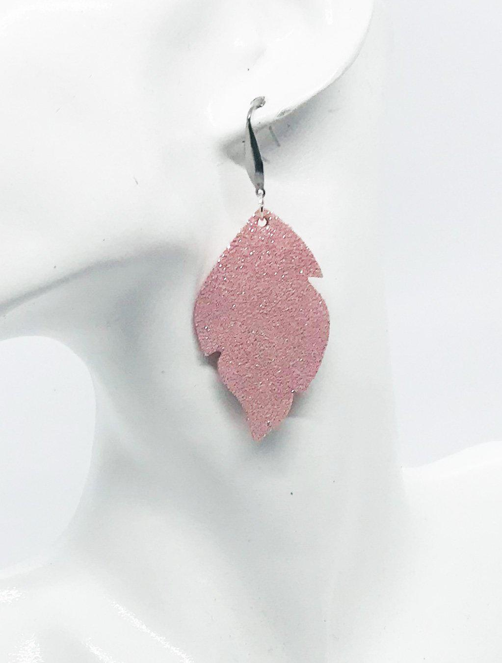Silver on Pink Genuine Leather Earrings - E19-721