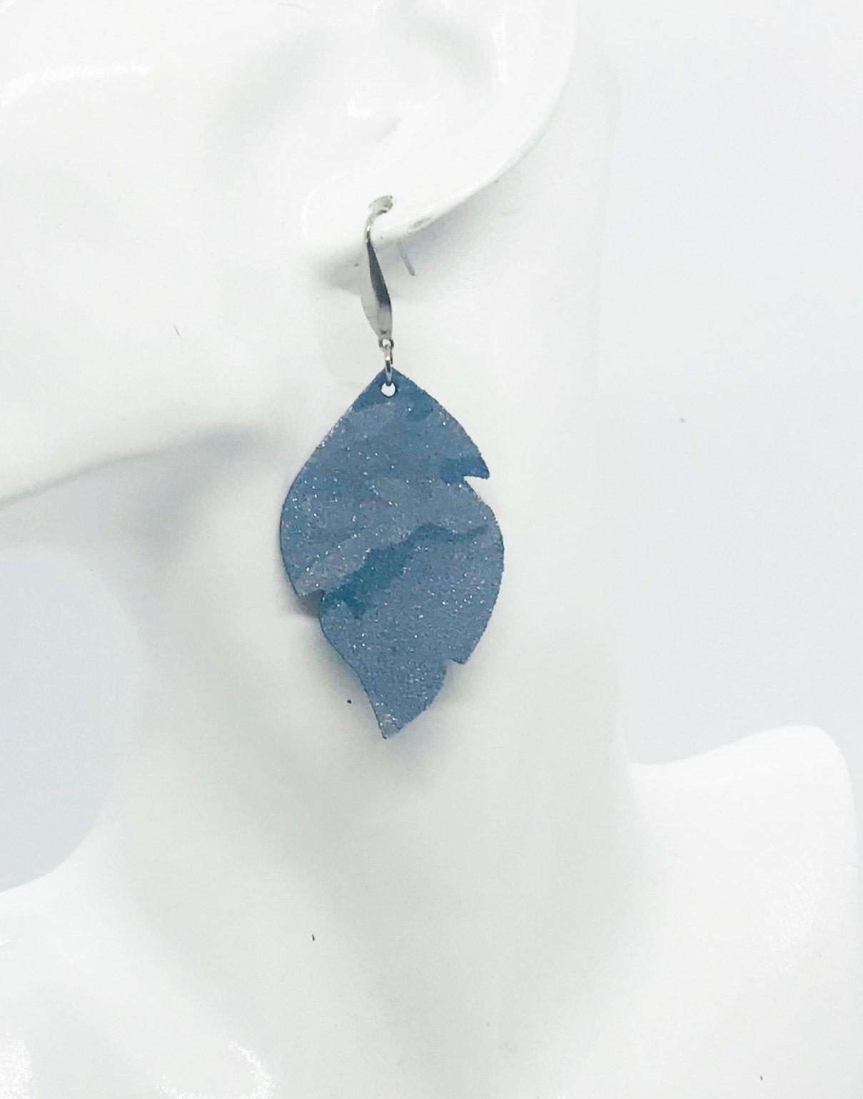 Denim Metallic Camo Leather Earrings - E19-740