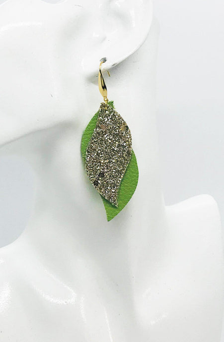 Genuine Green Leather and Gold Glitter Earrings - E19-751