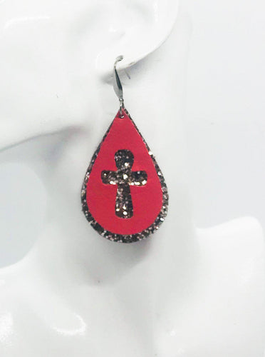 Coral Genuine Leather and Chunky Glitter Cross Earrings - E19-752
