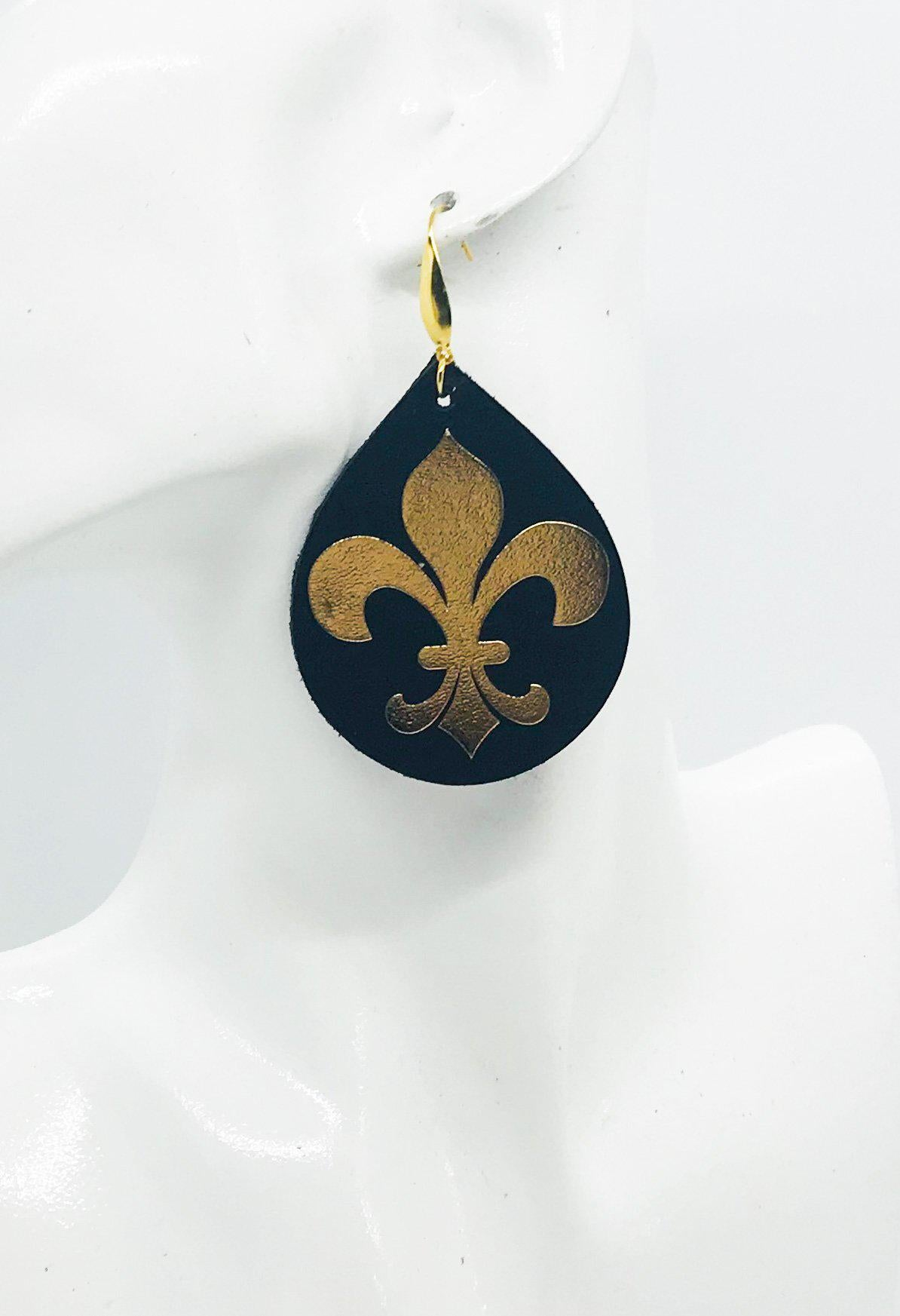 Black and Gold Fleur De Lis Earrings - E19-759