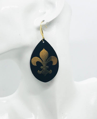 Black and Gold Fleur De Lis Leather Earrings - E19-765