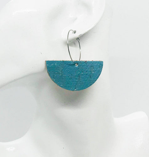 Turquoise Cork Leather Hoop Earrings - E19-780