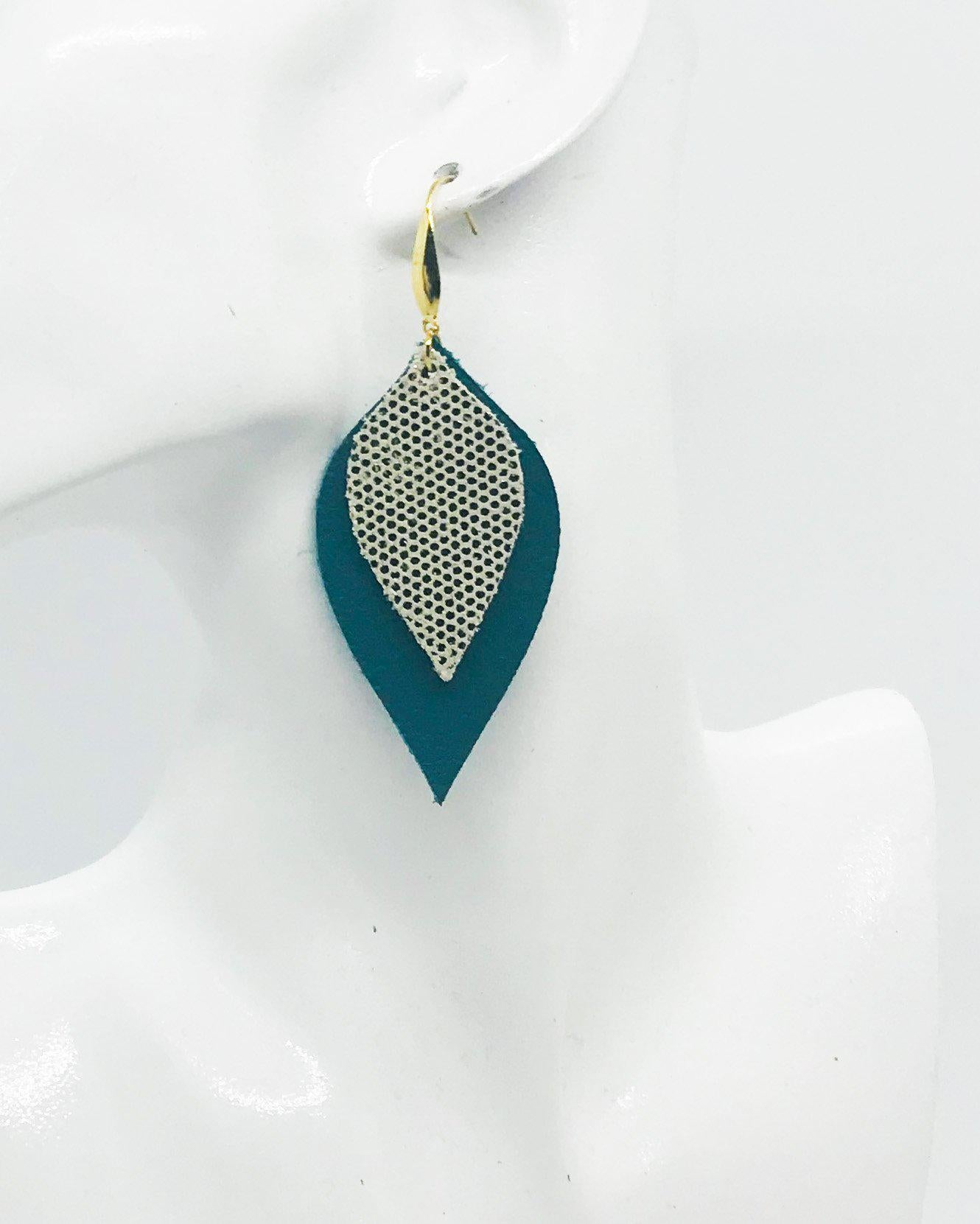 Turquoise and Golden Metallic Leather Earrings - E19-817
