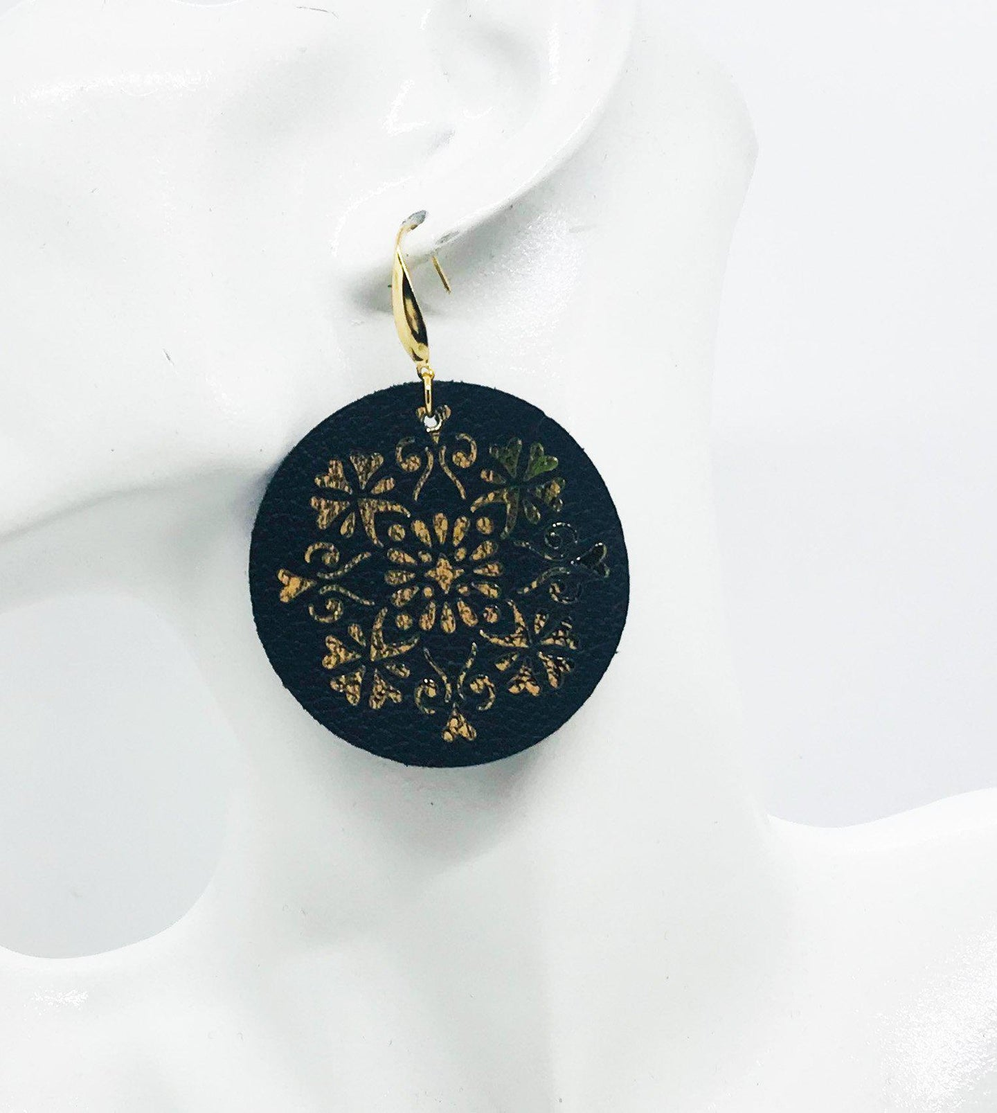 Black Leather and Metallic Gold Earrings - E19-843