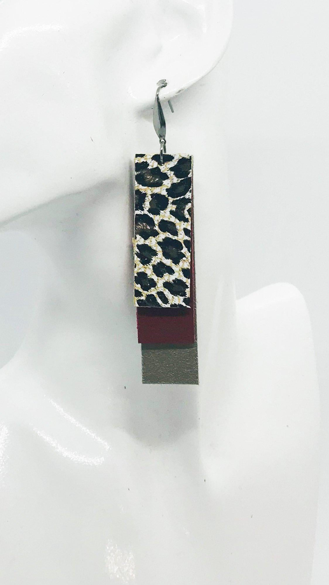 Gold, Red and Cheetah Print Genuine Leather Earrings - E19-845