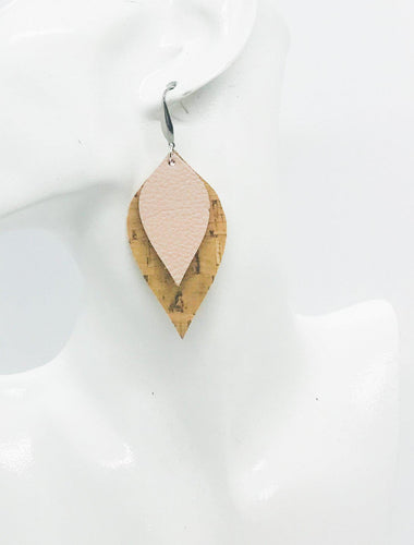 Genuine Pink Leather and Cork Earrings - E19-848