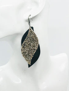 Brown Genuine Leather and Chunky Glitter Earrings - E19-853