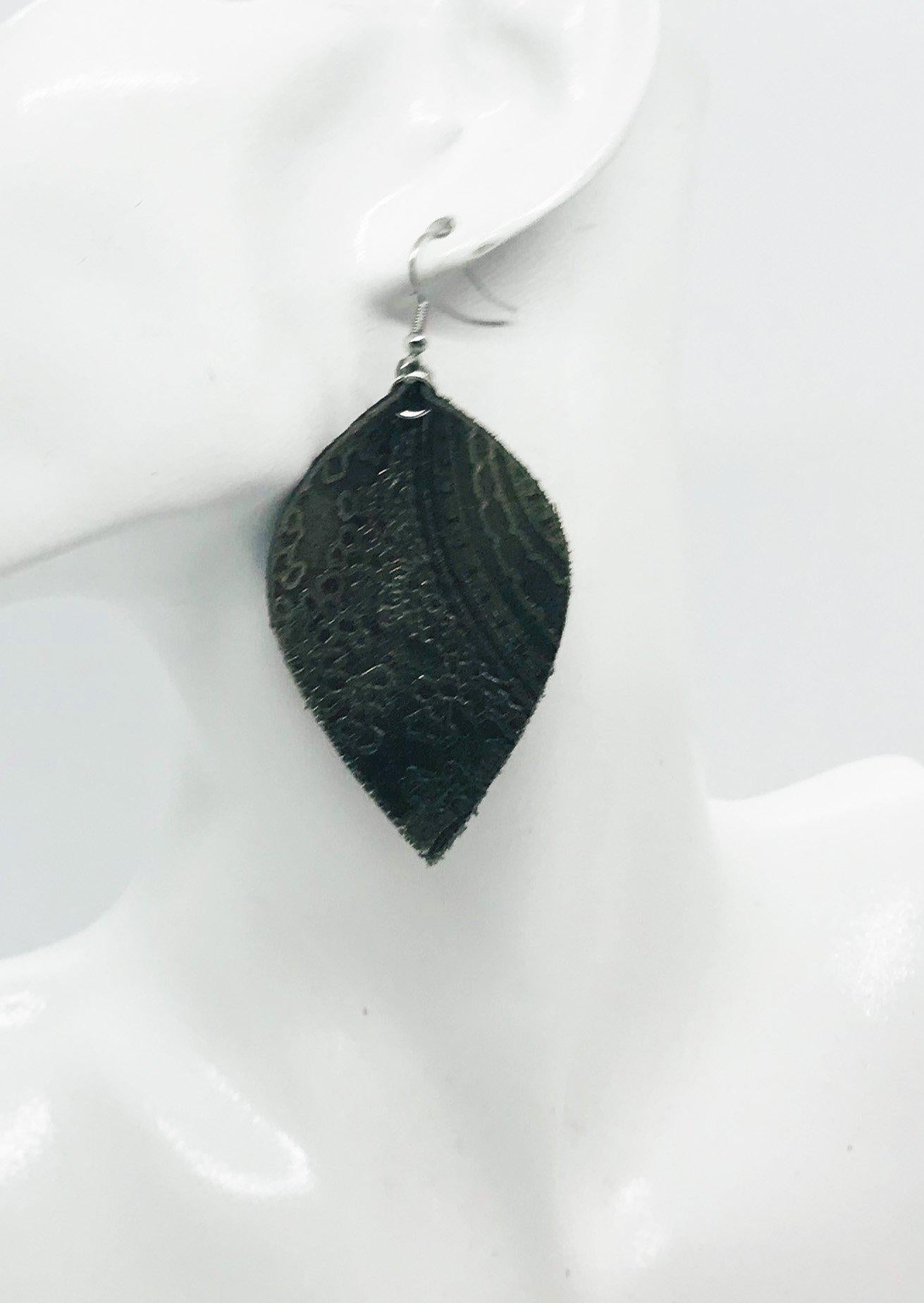 Genuine Embossed Leather Earrings - E19-854