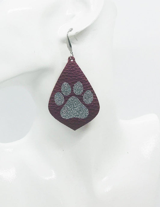 Maroon and Silver Glitter Paw Print Faux Leather Earrings - E19-856
