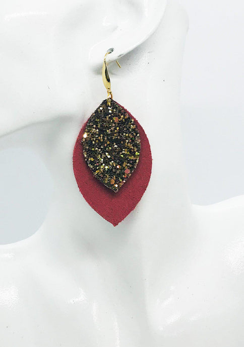 Salmon Suede Leather and Glitter Earrings - E19-863