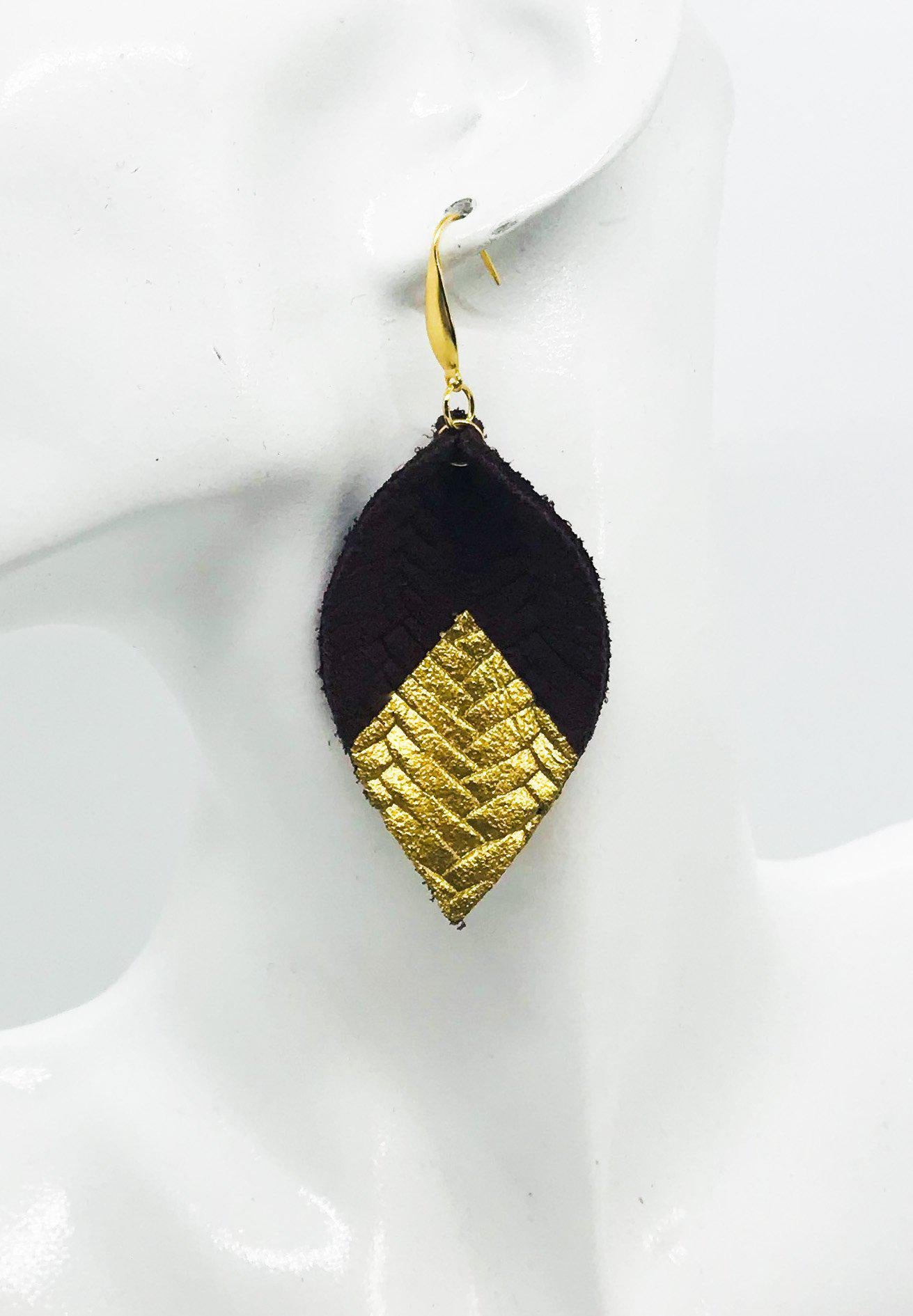 Burgundy Braided Italian Fishtail Leather Earrings - E19-875